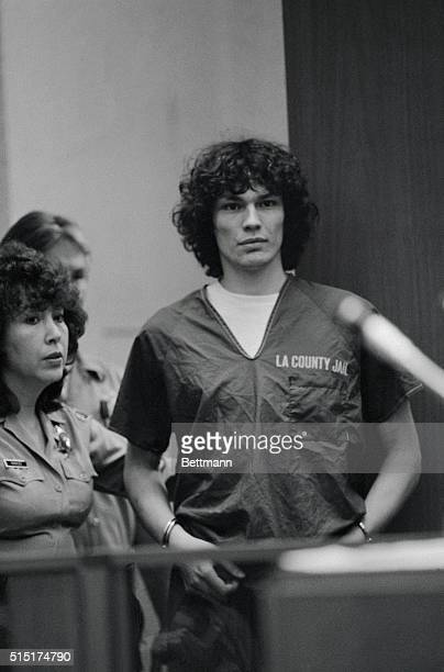 """Night Stalker"" suspect Richard Ramirez stands in court during his arraignment for 14 counts of murder and 31 other felonies. He pleaded innocent to..."
