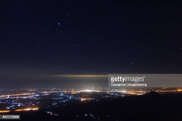 night starry sky over city light