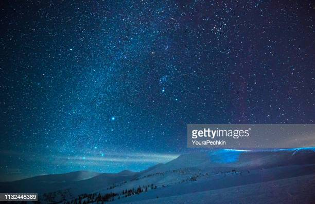 Night stars and milky way in winter