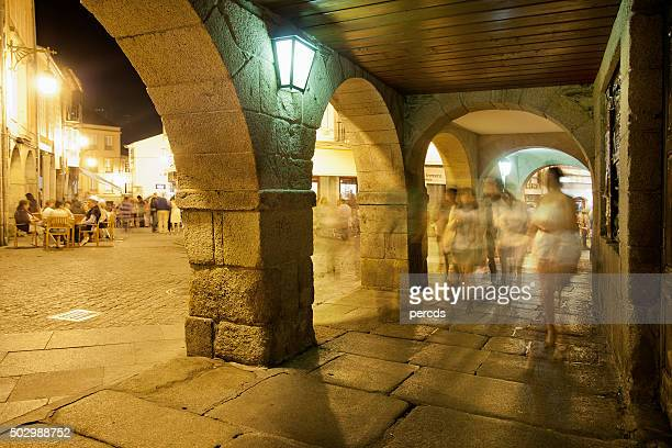 Night street arcade view in old town Lugo, Galicia, Spain.