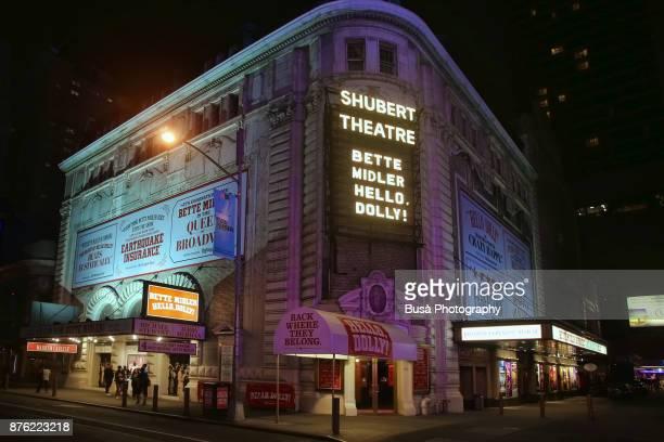 Night street scene in Midtown Manhattan: the Schubert Theater Broadway theatre located at 225 West 44th Street. New York City, USA