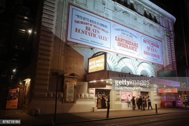 Night street scene in Midtown Manhattan: the Schubert Theater  located at 225 West 44th Street. New York City, USA