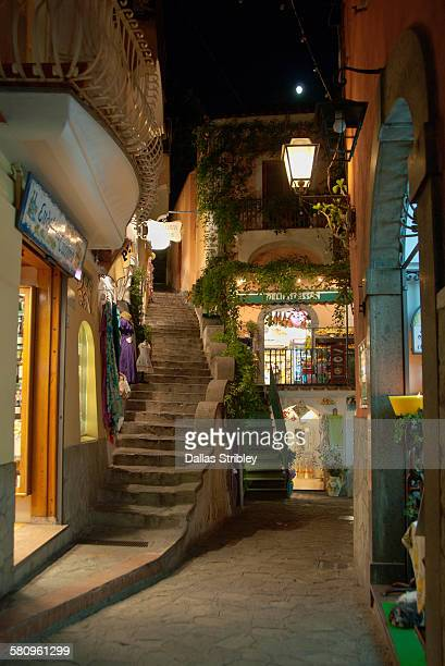 Night street scene in Positano, Italy