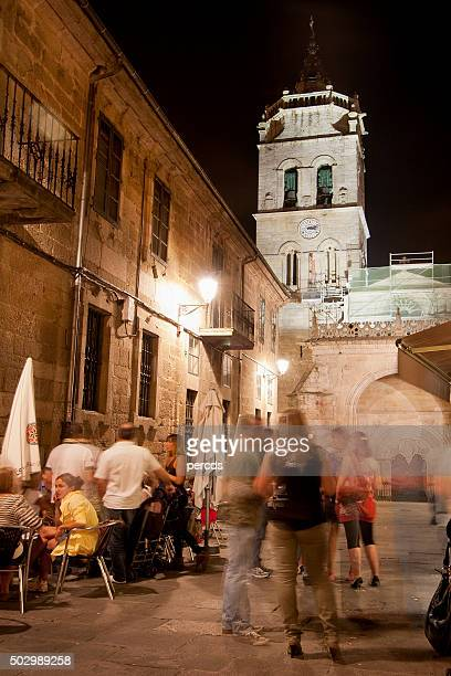 Night street view and cathedral bell tower, Lugo, Galicia, Spain.