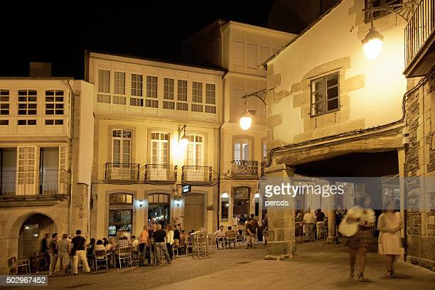 Night street view in old town Lugo, Galicia, Spain.