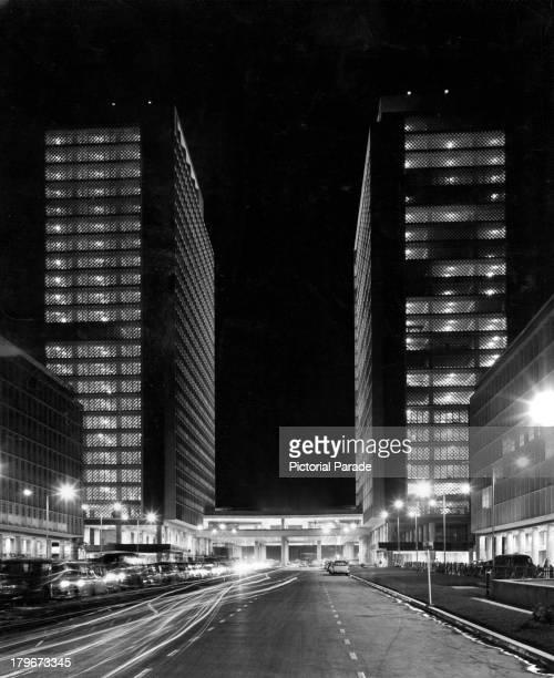 A night street view new tall buildings of CaracasVenezuela