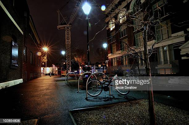 Night Streetscape with Bike and Crane