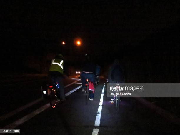 Night time bicycles on the roadway