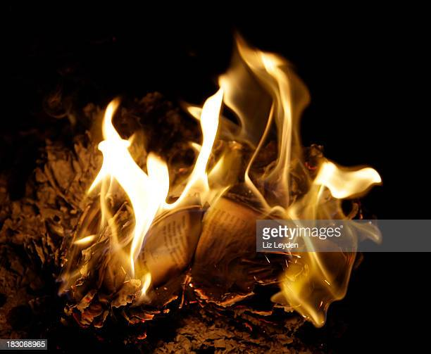 night time book burning - book burning stock pictures, royalty-free photos & images
