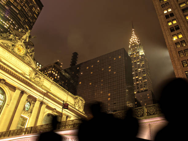 Night time Grand Central Station exterior in Manhattan