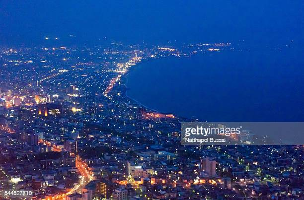Night time in Hakodate , Sunset twilight of Hokkaido , Japan