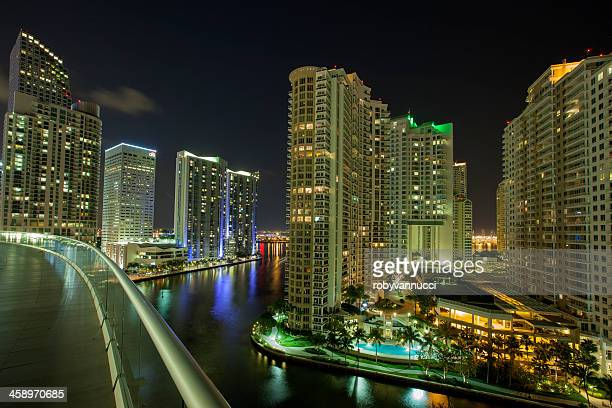 night time in miami looking towards brickell key - borough district type stock pictures, royalty-free photos & images