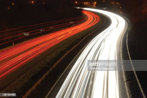 Night time light trails over four-lanes of traffic, taken on February 23, 2010.