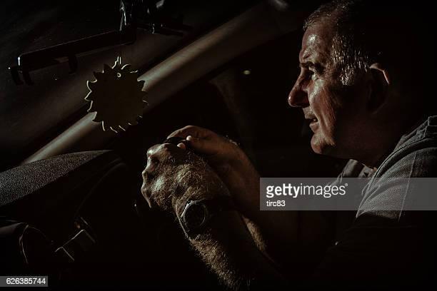Night time motorist hands on steering wheel