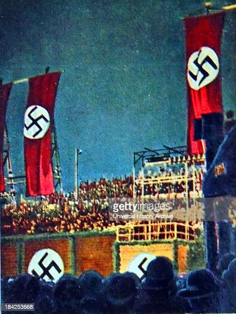 Night time Nazi rally at Templehoff airfield Berlin Germany 1930's