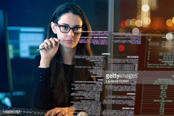 night time office data - scientist stock pictures, royalty-free photos & images