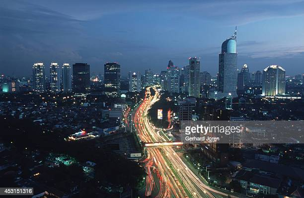 A night time skyline view south from the Mandarin Hotel overlooking Jend Directly below is Sudirman the main road through downtown Jakarta which is...