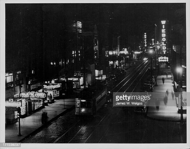 Night time view along a typical Chicago street circa 19201950