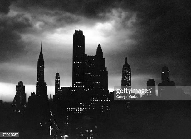 Night time view of city NYC