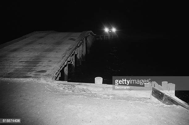 A night time view of Dyke Bridge the site of Senator Ted Kennedy's auto accident that resulted in the death of a campaign worker