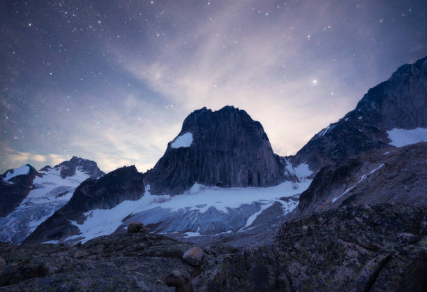 Night time view of Snowpatch Spire from Applebee Dome camping area, Bugaboo Provincial Park, British Columbia, Canada