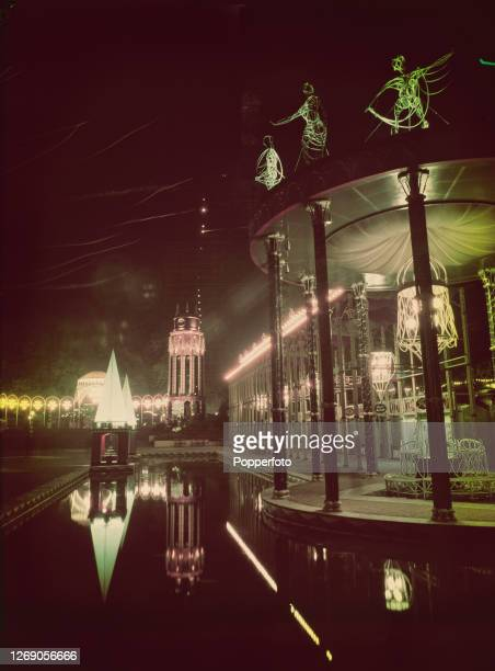 Night time view of the Battersea Pleasure Gardens Grand Vista, created as part of the Festival of Britain celebrations, located in Battersea Park,...