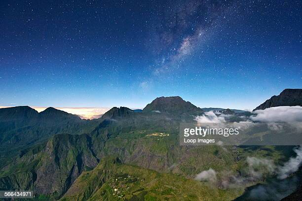Night time view of the Cirque de Mafate caldera on the French island of Reunion in the Indian Ocean