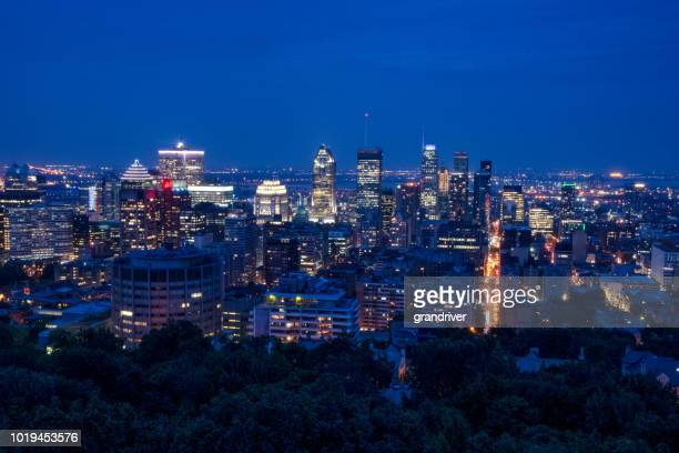 Night Time View of the City Scape in Montreal, Quebec Canada