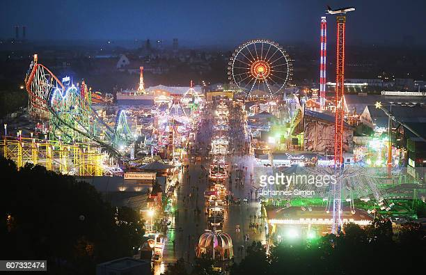 Night time view of the Oktoberfest during the opening day of the 2016 Oktoberfest beer festival in the Hofbraeu tent at Theresienwiese on September...