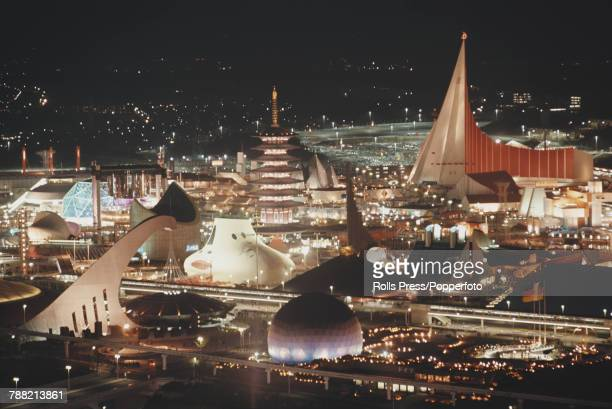 Night time view of visitors at the Expo '70 world's fair at Suita in Osaka Japan in 1970 The fair would be open from May to September 1970 On the...