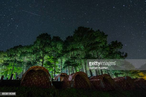 Night time with star and camping tents
