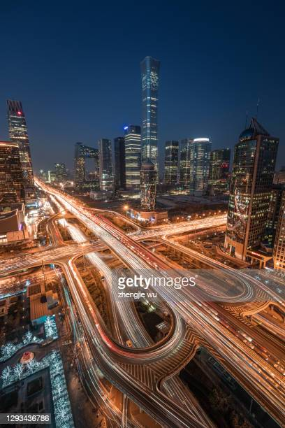 night trade view of beijing central business district,beijing,china,beijing international trade cbd night view traffic - global business stock pictures, royalty-free photos & images