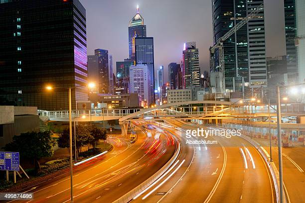 Night Traffic Hong Kong Island, China