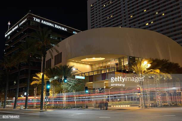 night traffic in downtown phoenix - arizona christmas stock pictures, royalty-free photos & images