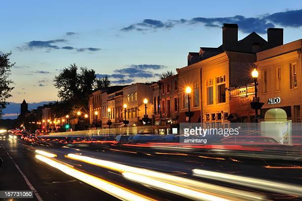 Night traffic in Georgetown of Washington DC