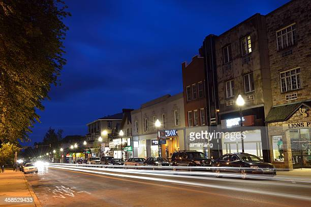 night traffic in penn state - state college pennsylvania stock photos and pictures