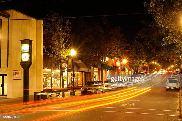 night traffic in penn state - state college pennsylvania stock pictures, royalty-free photos & images