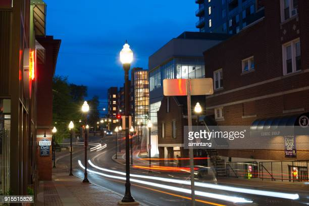 night traffic in state college - state college stock photos and pictures
