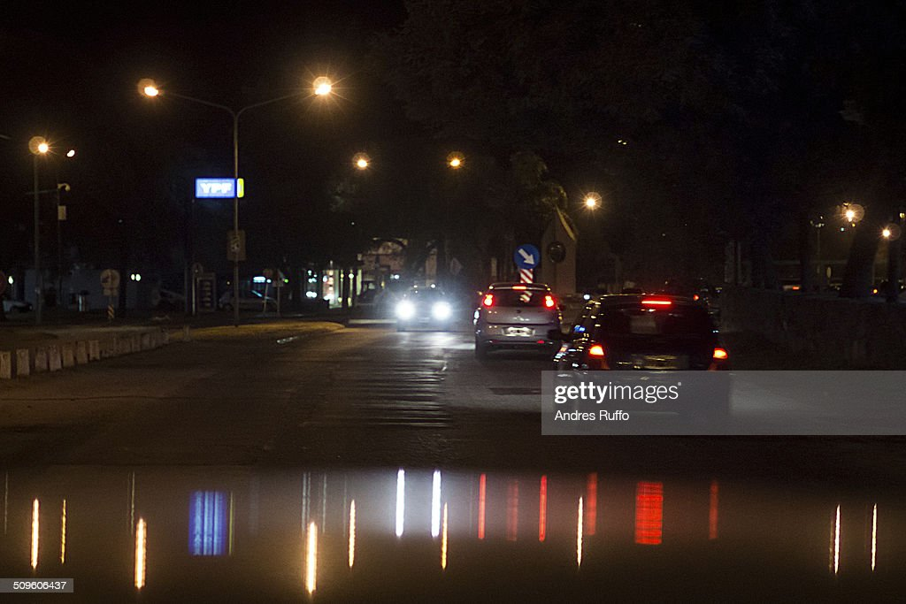 Night traffic on a street in the city of Villa All : Stock Photo