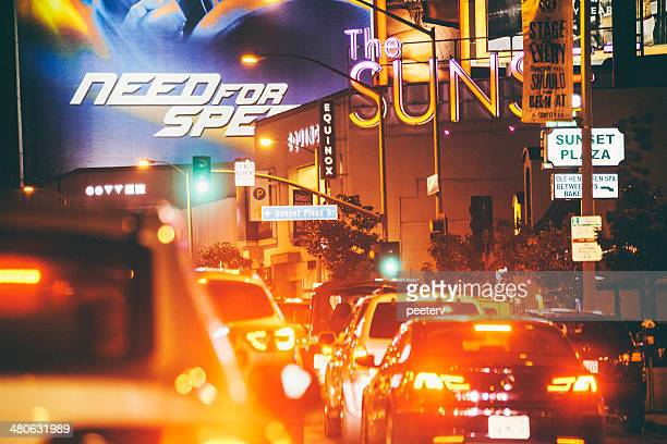 Night traffic on Sunset Boulevard.