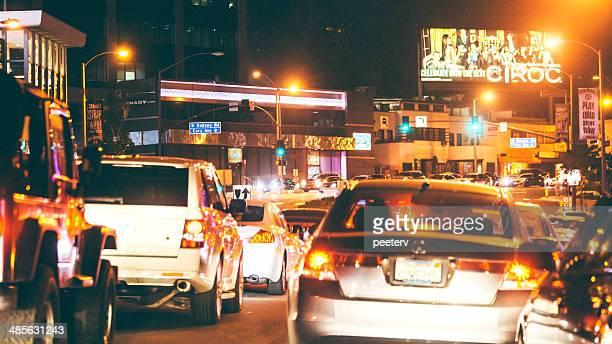 Night traffic on Sunset Strip.