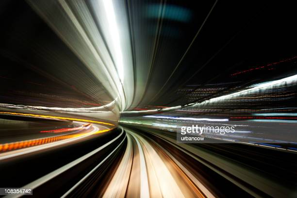 night tunnel - driverless transport stock pictures, royalty-free photos & images
