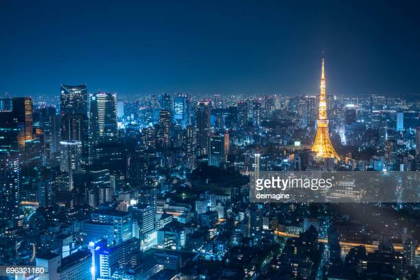 Night urban skyline and Tokyo Tower