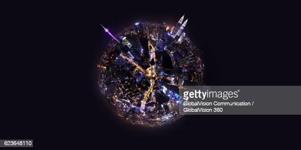 360° night view above kuala lumpur, malaysia - formato de pequeno planeta - fotografias e filmes do acervo