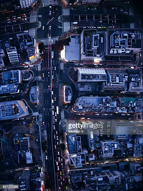 Night view aerial photography of Ginza