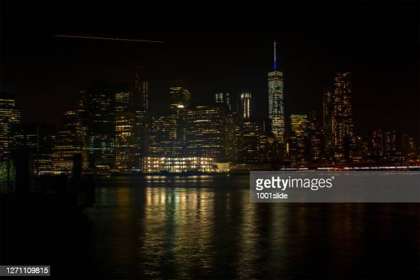 night view at newyork - new york harbour stock pictures, royalty-free photos & images