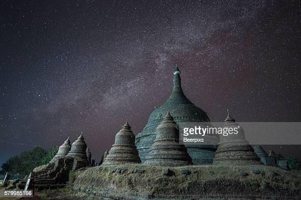 Night view at Ratanabon Paya in Mrauk U, Myanmar.