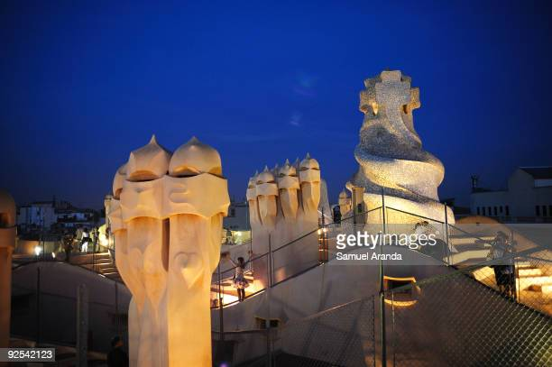 A night view at the roof of La Pedrera building on October 30 2009 in Barcelona Spain Casa Mila better known as La Pedrera is a building designed by...