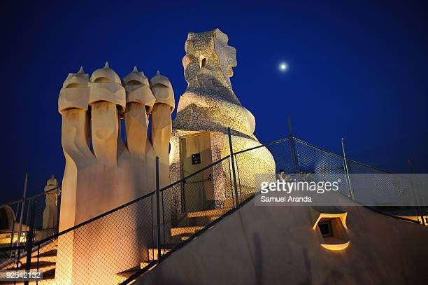 A night view at the roof of 'La Pedrera' building on October 30 2009 in Barcelona Spain Casa Mila better known as La Pedrera is a building designed...