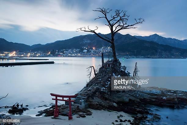 Night view for a Japanese sea godtempleHere dedicated to the patron saint of Kirikiri's fishermenEach fishermen will pray to the sea god bless peace...